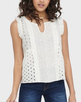 ONLY EMBROIDERY ANGLAISE SLEEVELESS TOP - 15201523 - ΕΚΡΟΥ