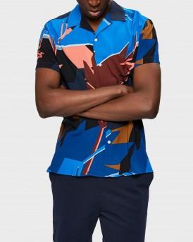 Selected Shirt Short Sleeved Palm Print - 16073626 - ΜΠΛΕ