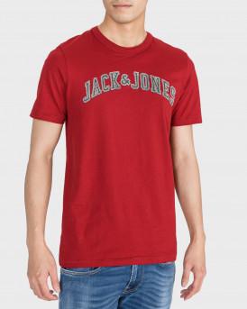 Jack & Jones T-Shirt Logo Print Crew Neck -  - ΚΟΚΚΙΝΟ