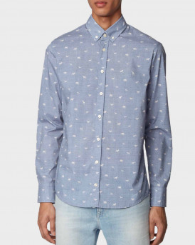 Boss Shirt With Micro Motif - 50425284 MABSOOT - ΣΙΕΛ