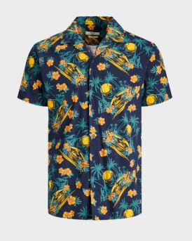Jack & Jones Πουκάμισο Short Sleeved Botanical Print - 12170678 - ΜΠΛΕ