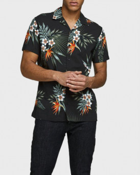 Jack & Jones Πουκάμισο Short Sleeved Botanical Print - 12170678 - ΜΑΥΡΟ