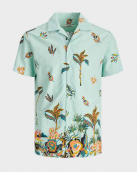 Jack & Jones Πουκάμισο Short Sleeved Botanical Print - 12170678 - ΤΥΡΚΟΥΑΖ