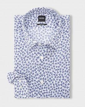 Boss Shirt Leaf Print - 50427556 LUKAS - ΜΠΛΕ