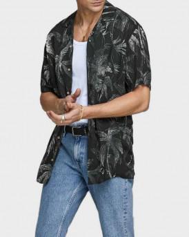 Jack & Jones Πουκάμισο Short Sleeved Palm Print - 12170842 - ΜΑΥΡΟ