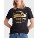 Superdry T-Shirt Premium Goods Snake Burnout - W1010090A - ΜΑΥΡΟ