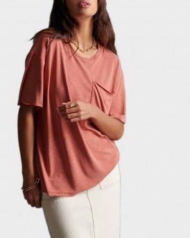 Superdry Τ-Shirt Canyon Essential Pocket - W6010010A - ΚΕΡΑΜΙΔΙ