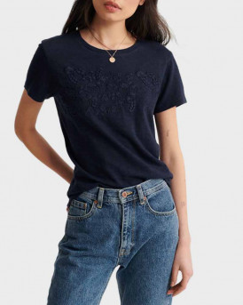 Superdry T-Shirt Embroidery Tinsley - W6010154A - ΜΠΛΕ