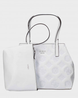 Guess Shopper Bag Embroidered - ΡΥ699524 VIKKY - ΑΣΠΡΟ