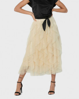 Only Φούστα Midi Frill Skirt - 15201888 - ΜΠΕΖ