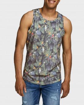 Jack & Jones Φανελάκι Vest Tropical Bird Print - 12173058 - BLUENAVY