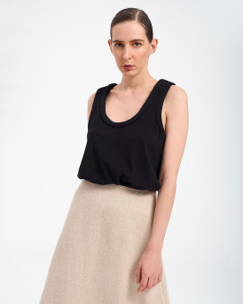 COTTON VEST TOP ΤΗΣ POPTOMETRY - Μ20-33 - ΜΑΥΡΟ