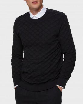 Selected Πλεκτό Diamond Knit Jumper - 16075714 - ΜΑΥΡΟ