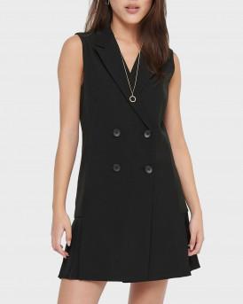 Only Φόρεμα Double Breasted Sleeveless Dress - 15209456 - ΜΑΥΡΟ