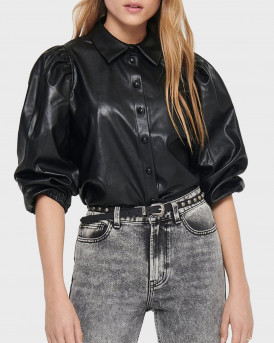 Only Leather Look Shirt - 15213589 - ΜΑΥΡΟ