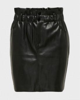 Only Φούστα Leather Look Skirt - 15206801 - ΜΑΥΡΟ