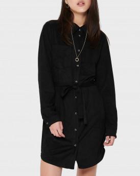 Only Suede Look Shirt Dress - 15200241 - ΜΑΥΡΟ