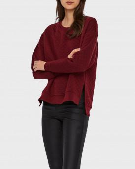Vero Moda Φούτερ Quilted Pullover - 10234763 - ΜΠΟΡΝΤΩ