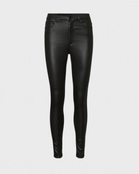 Vero Moda Παντελόνι High Waist Coated Trousers - 10234919 - ΜΑΥΡΟ
