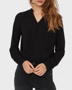 Vero Moda Μπλούζα V-Neck Long Sleeved - 10233287 - ΜΑΥΡΟ