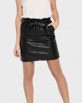 Only Φούστα Leather Look Skirt - 15162797 - ΜΑΥΡΟ
