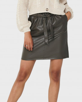 Only Φούστα Leather Look Skirt - 15162797 - ΑΝΘΡΑΚΙ