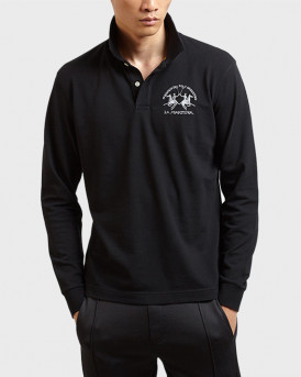 La Martina Polo Long Sleeve - CCMP03 PK001 - ΜΑΥΡΟ