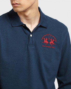 La Martina Polo Long Sleeve - CCMP03 PK001 - ΜΠΛΕ