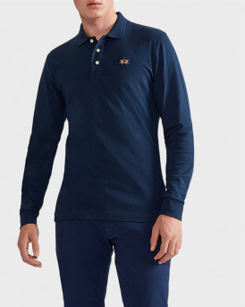 La Martina Polo Long Sleeve - CCMP04 PK001 - ΜΠΛΕ