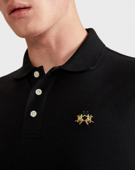 La Martina Polo Long Sleeve - CCMP04 PK001 - ΜΑΥΡΟ