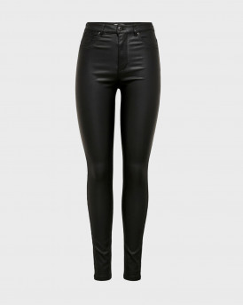 Only Παντελόνι Gosh Rock Coated Trousers - 15208305 - ΜΑΥΡΟ
