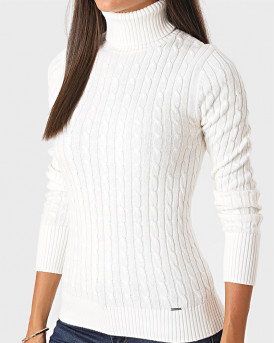 Superdry Ζιβάγκο Croyde Cable Roll Neck - W6110058A - ΕΚΡΟΥ