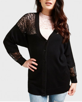 GUESS ZAKETA VISCOSE BLEND CARDIGAN WITH LACE INSERT - W0YR78Z2G4O - ΜΑΥΡΟ