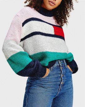 TOMMY HILFIGER ΠΛΕΚΤΟ COLOR-BLOCKED SWEATER WITH WIDE SLEEVE- DW0DW08868 - MULTI