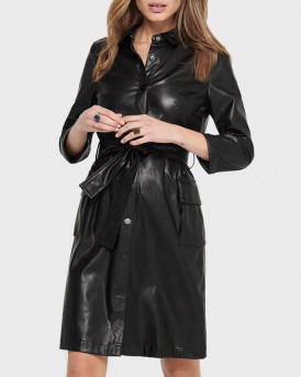 ONLY ΦΟΡΕΜΑ LEATHER LOOK - 15216707 - ΜΑΥΡO