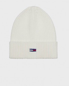 Tommy Hilfiger Σκούφος Ribbed Hat With Sparkling Flag - AW0AW08984 - ΑΣΠΡΟ