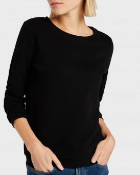 Tom Tailor Πλεκτό Textured Sweatshirt - 1021114.XX.71 - ΜΑΥΡΟ
