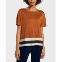 Tom Tailor T-Shirt With Striped Hem - 1021299.XX.77 - ΚΕΡΑΜΙΔΙ