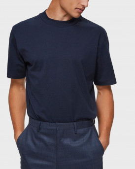 Selected T-shirt With Mock Neck - 16075233 - ΜΠΛΕ