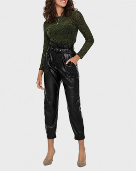ONLY ΠΑΝΤΕΛOΝΙ FAUX LEATHER PAPERBAG TROUSERS - 15208507 - ΜΑΥΡΟ