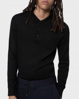 Hugo Πλεκτό Merino-wool-blend Sweater With Polo Collar - 50436279 SAN GΙΟVANN - ΜΑΥΡΟ