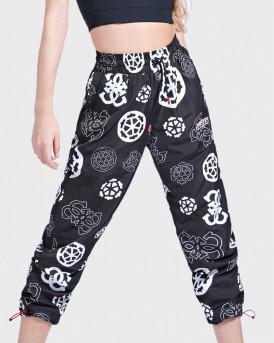 uess Παντελόνι All Over Print Logo Pant - Ο0ΒΑ87WDF90 - MΑΥΡΟ