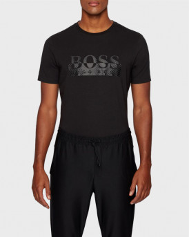 BOSS ΜΠΛΟΥΖΑ FOIL-PRINTED T-SHIRT IN ORGANIC STRETCH COTTON - 50435888 - ΜΑΥΡΟ