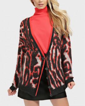 Guess Animal Print Wool Blend Cardigan - W0ΒR1GZ2R00 - ΚΟΚΚΙΝΟ