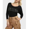 Guess Μπλούζα Jewel Details Logo Sweater - W0BR0MZ2NQ0 - ΜΑΥΡΟ
