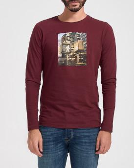 Jack & Jones Mπλούζα Longsleeve T-Shirt - 12175090 - ΜΠΟΡΝΤΩ