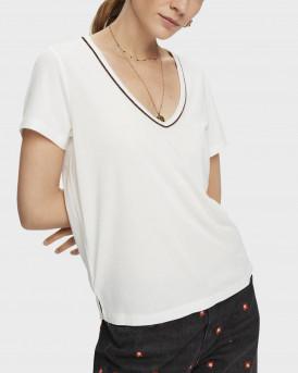 Scotch & Soda T-shirt Short sleeve metallic V-neck - 159256 - ΑΣΠΡΟ