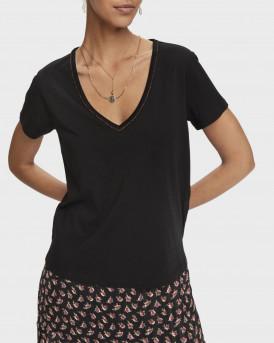 Scotch & Soda T-shirt Short sleeve metallic V-neck - 159256 - ΜΑΥΡΟ