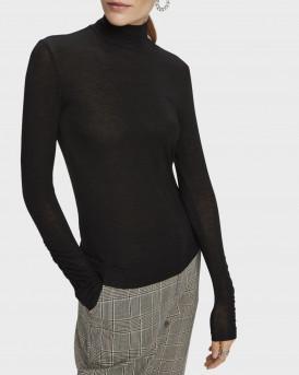 Scotch & Soda Ζιβάγκο Long Sleeve TENCEL™ Turtleneck T-shirt - 160396 - ΜΑΥΡΟ