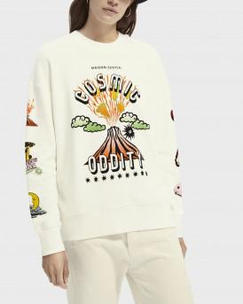 Scotch & Soda Φούτερ Cotton-blend Αrtwork Sweatshirt - 160483 - ΕΚΡΟΥ